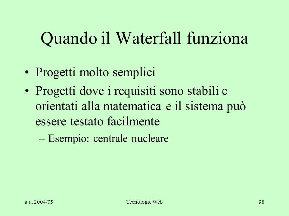 a.a. 2004/05Tecnologie Web98 Quando il Waterfall funziona Progetti molto semplici Progetti dove i requisiti sono stabili e orientati alla matematica e
