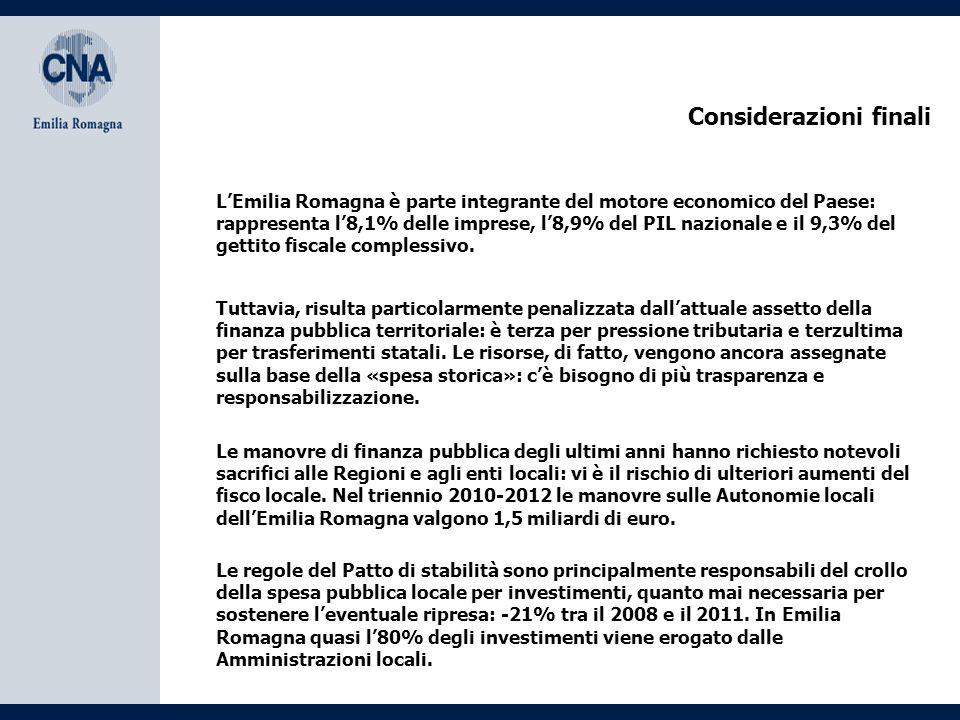 Considerazioni finali L'Emilia Romagna è parte integrante del motore economico del Paese: rappresenta l'8,1% delle imprese, l'8,9% del PIL nazionale e