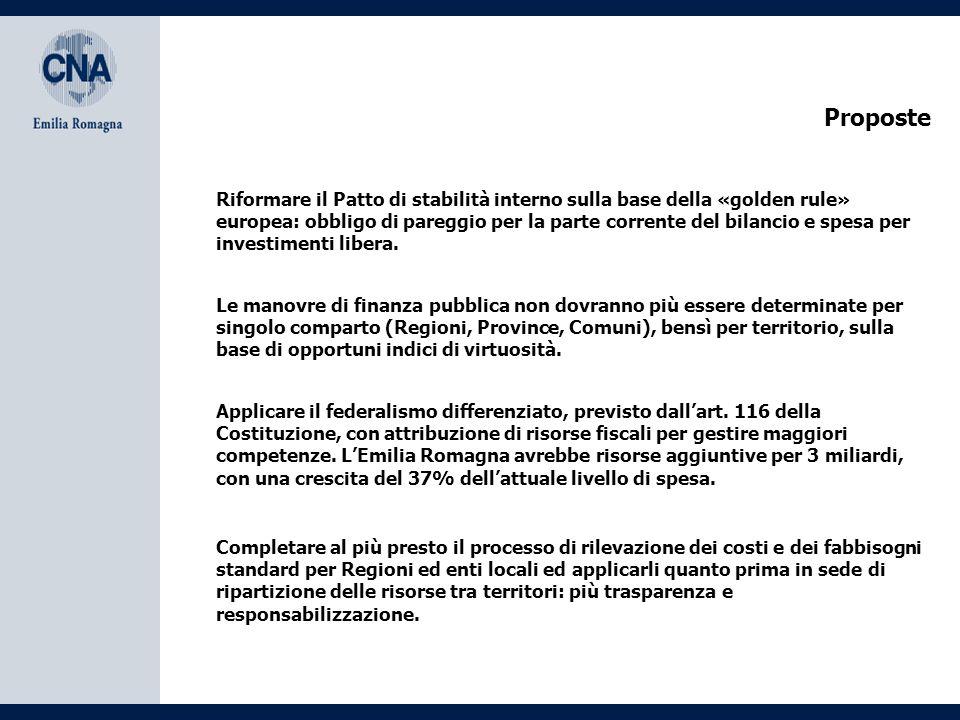 Proposte Riformare il Patto di stabilità interno sulla base della «golden rule» europea: obbligo di pareggio per la parte corrente del bilancio e spesa per investimenti libera.