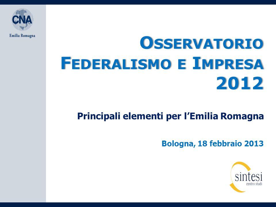 O SSERVATORIO F EDERALISMO E I MPRESA 2012 Bologna, 18 febbraio 2013 Principali elementi per l'Emilia Romagna