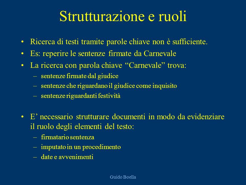 Guido Boella Strutturazione e ruoli Ricerca di testi tramite parole chiave non è sufficiente. Es: reperire le sentenze firmate da Carnevale La ricerca
