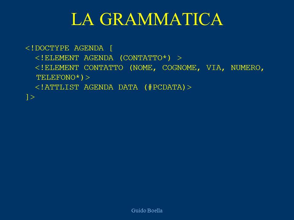 Guido Boella LA GRAMMATICA <!DOCTYPE AGENDA [ ]>