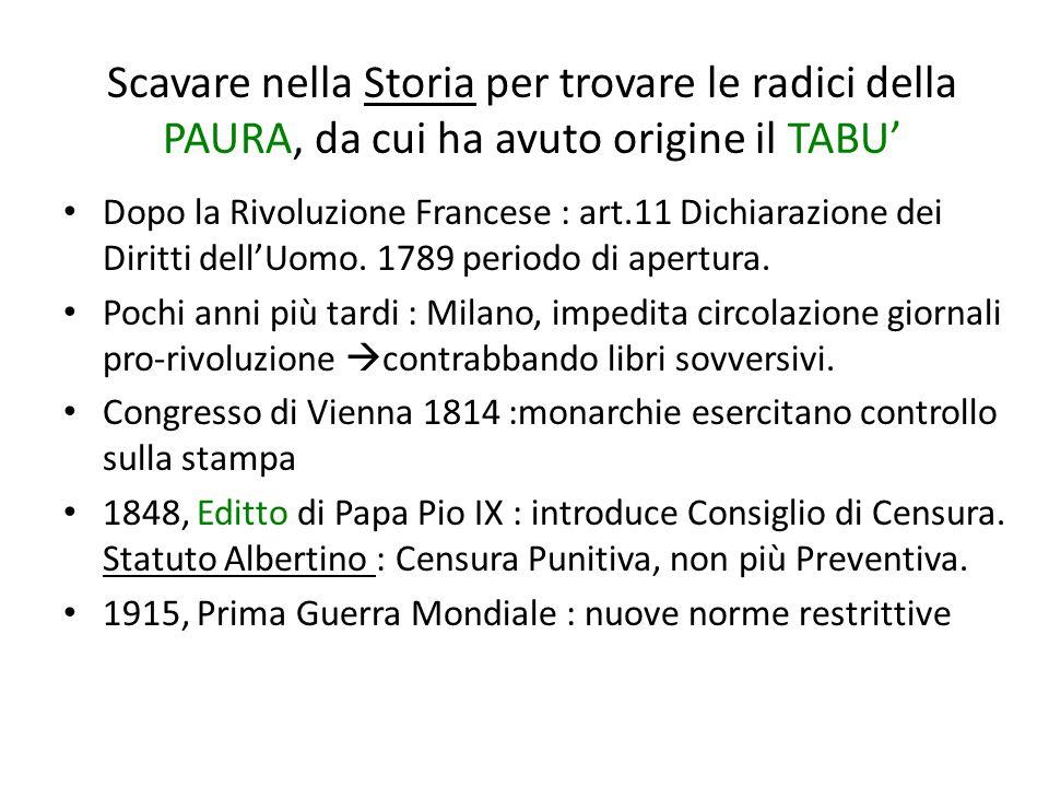 Scavare nella Storia per trovare le radici della PAURA, da cui ha avuto origine il TABU' Dopo la Rivoluzione Francese : art.11 Dichiarazione dei Diritti dell'Uomo.
