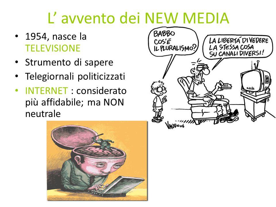 L' avvento dei NEW MEDIA 1954, nasce la TELEVISIONE Strumento di sapere Telegiornali politicizzati INTERNET : considerato più affidabile; ma NON neutrale