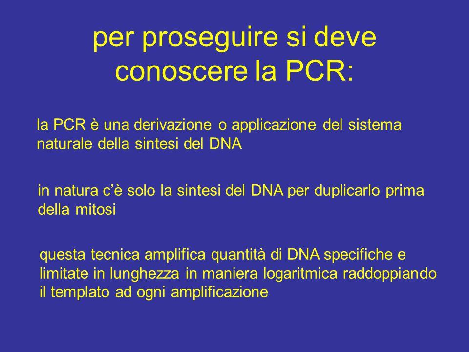 per proseguire si deve conoscere la PCR: la PCR è una derivazione o applicazione del sistema naturale della sintesi del DNA in natura c'è solo la sint