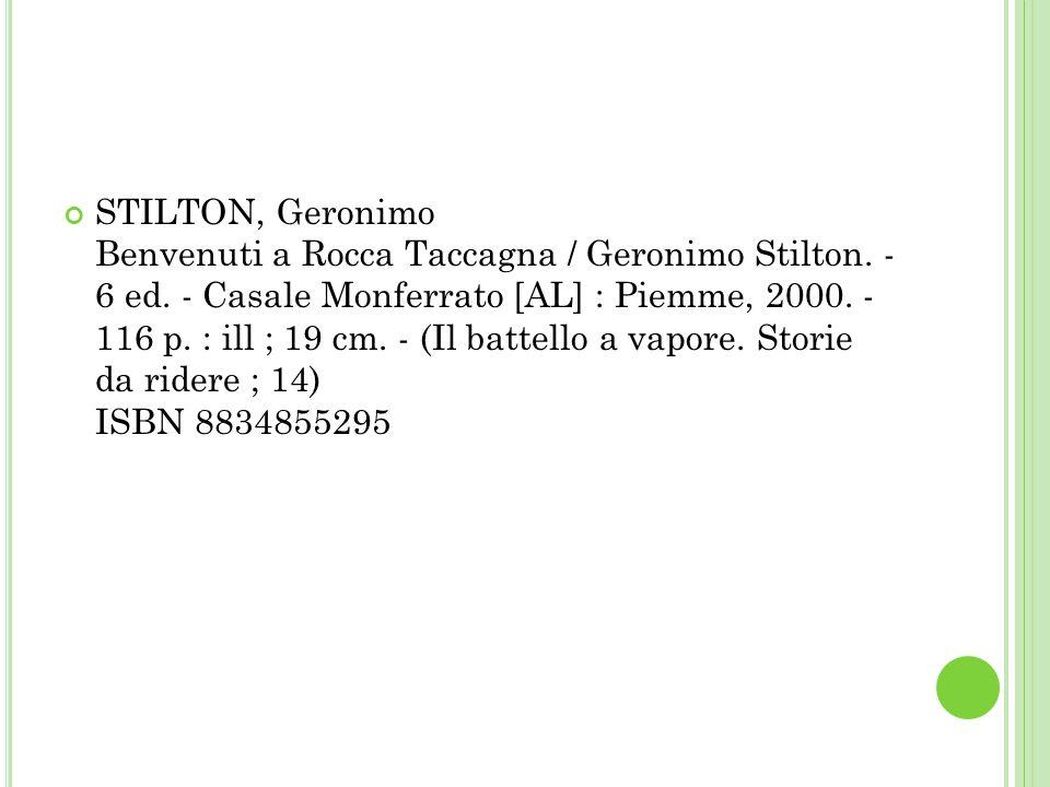 STILTON, Geronimo Benvenuti a Rocca Taccagna / Geronimo Stilton.