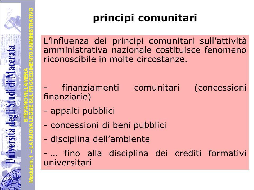 Università degli Studi di Perugia Modulo n. 1 – LA NUOVA LEGGE SUL PROCEDIMENTO AMMINISTRATIVO STEFANO VILLAMENA principi comunitari L'influenza dei p