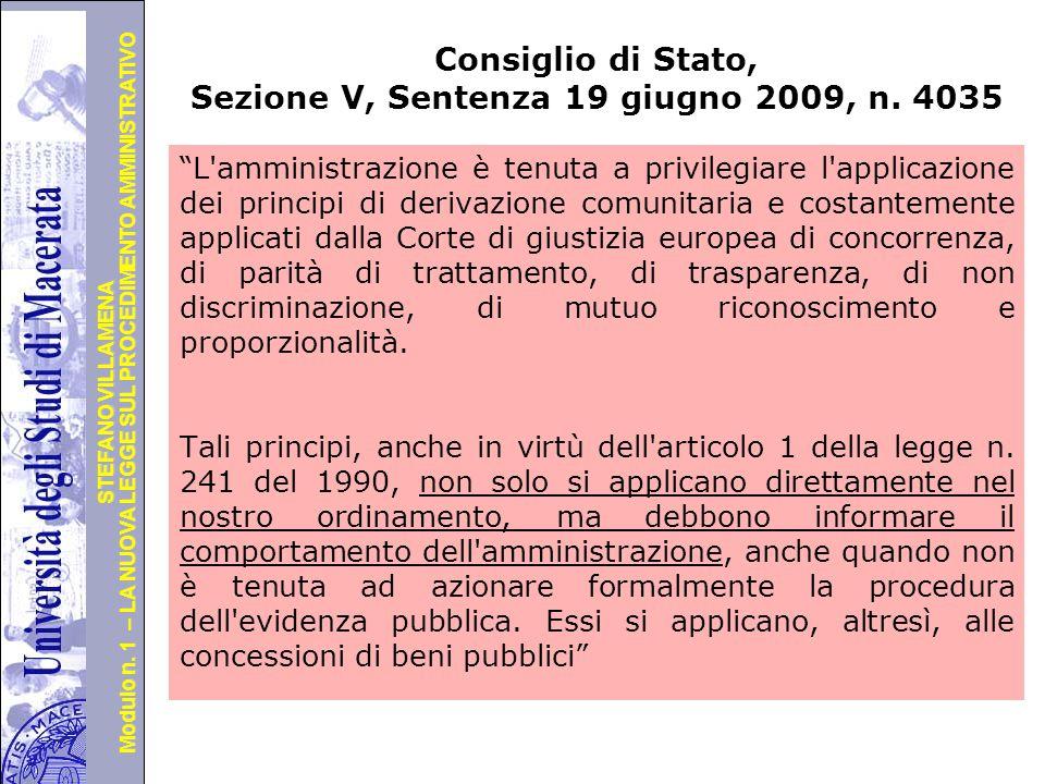 Università degli Studi di Perugia Modulo n. 1 – LA NUOVA LEGGE SUL PROCEDIMENTO AMMINISTRATIVO STEFANO VILLAMENA Consiglio di Stato, Sezione V, Senten