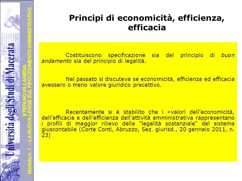 Università degli Studi di Perugia Modulo n. 1 – LA NUOVA LEGGE SUL PROCEDIMENTO AMMINISTRATIVO STEFANO VILLAMENA Principi di economicità, efficienza,