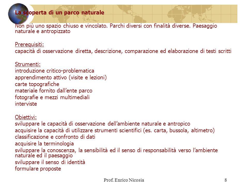 Prof.Enrico Nicosia8 La scoperta di un parco naturale Non più uno spazio chiuso e vincolato.