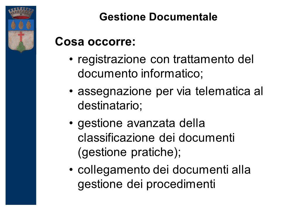 Gestione Documentale Cosa occorre: registrazione con trattamento del documento informatico; assegnazione per via telematica al destinatario; gestione avanzata della classificazione dei documenti (gestione pratiche); collegamento dei documenti alla gestione dei procedimenti
