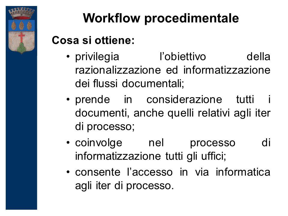 Workflow procedimentale Cosa si ottiene: privilegia l'obiettivo della razionalizzazione ed informatizzazione dei flussi documentali; prende in considerazione tutti i documenti, anche quelli relativi agli iter di processo; coinvolge nel processo di informatizzazione tutti gli uffici; consente l'accesso in via informatica agli iter di processo.