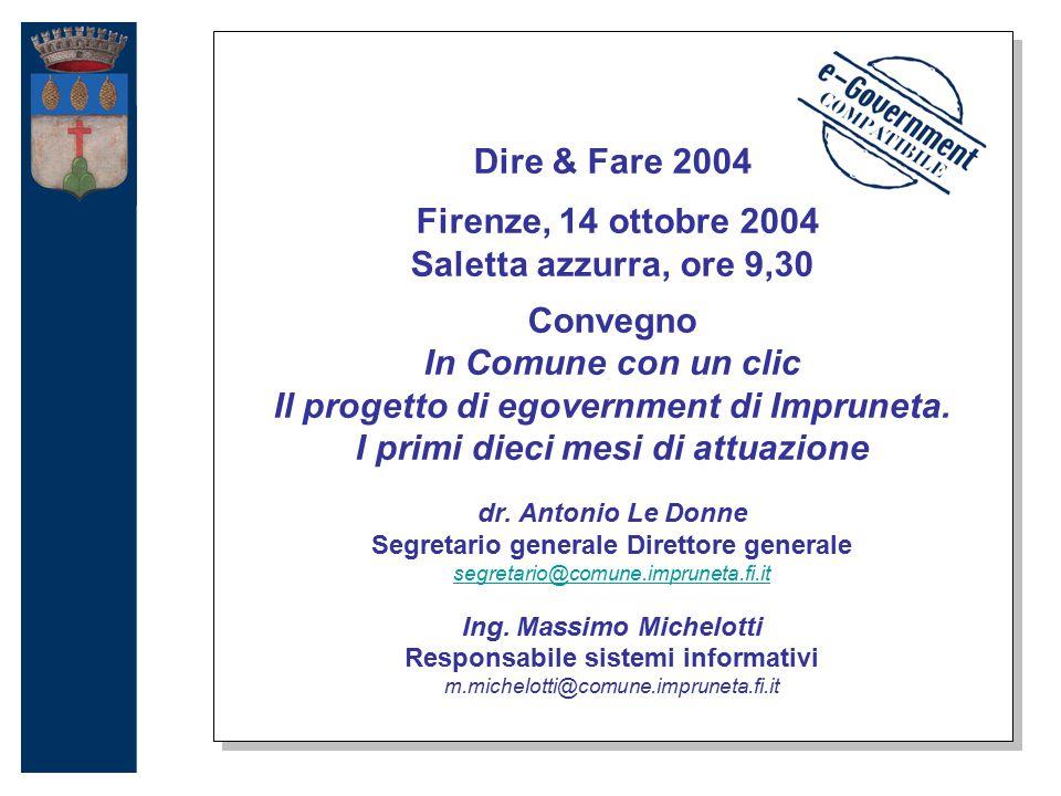 Dire & Fare 2004 Firenze, 14 ottobre 2004 Saletta azzurra, ore 9,30 Convegno In Comune con un clic Il progetto di egovernment di Impruneta.