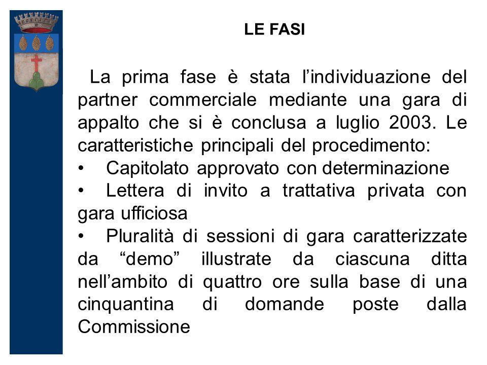La prima fase è stata l'individuazione del partner commerciale mediante una gara di appalto che si è conclusa a luglio 2003.