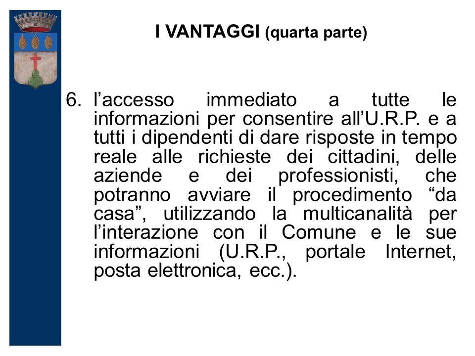 I VANTAGGI (quarta parte) 6.l'accesso immediato a tutte le informazioni per consentire all'U.R.P.