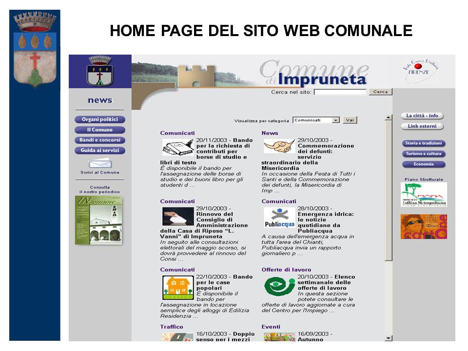 HOME PAGE DEL SITO WEB COMUNALE