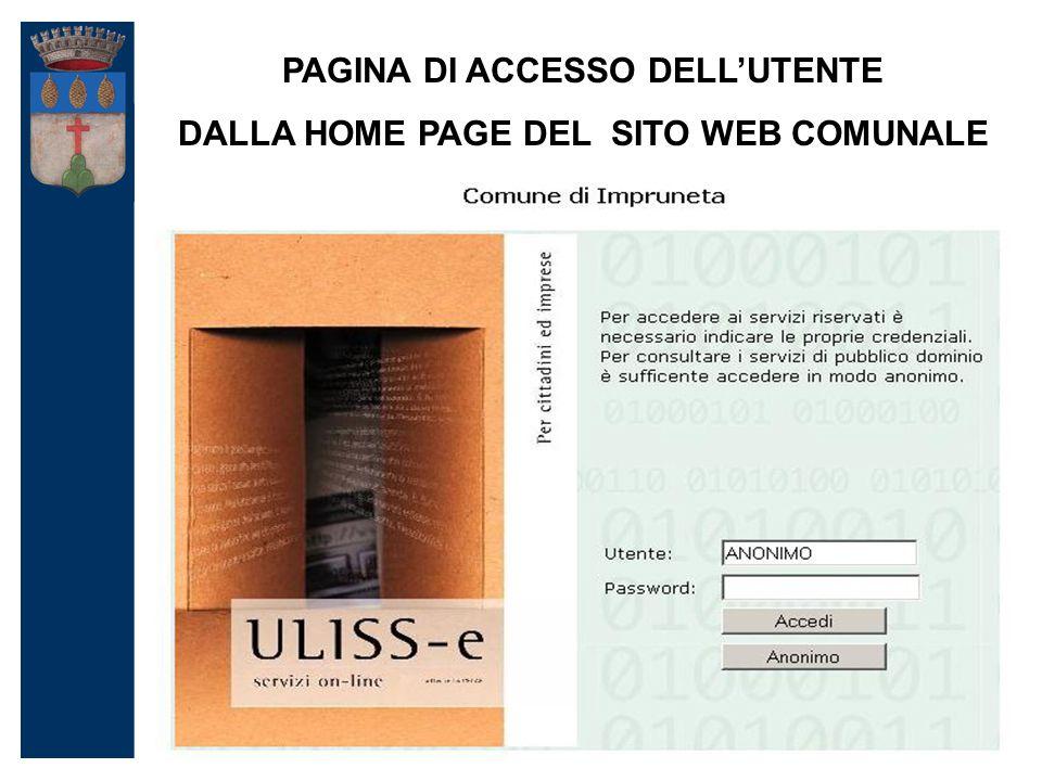 PAGINA DI ACCESSO DELL'UTENTE DALLA HOME PAGE DEL SITO WEB COMUNALE