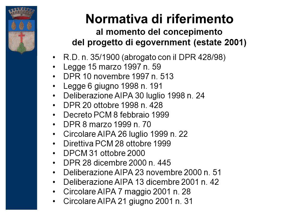 Normativa di riferimento al momento del concepimento del progetto di egovernment (estate 2001) R.D.
