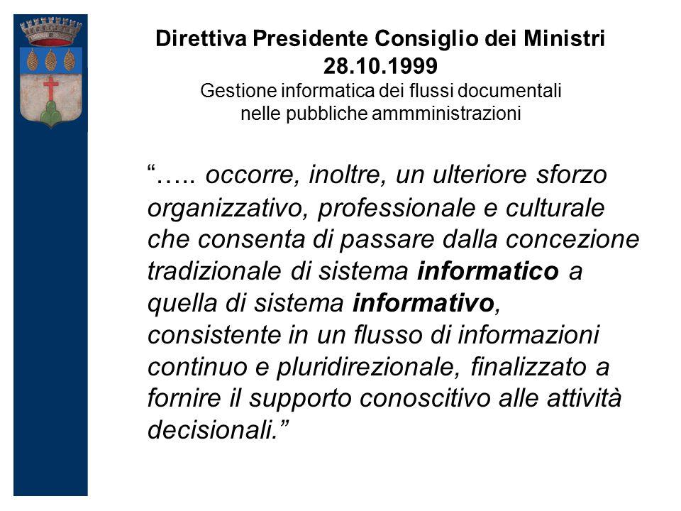 Direttiva Presidente Consiglio dei Ministri 28.10.1999 Gestione informatica dei flussi documentali nelle pubbliche ammministrazioni …..