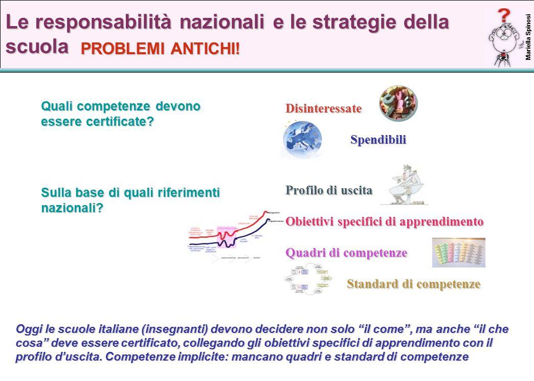 17 Le responsabilità nazionali e le strategie della scuola Quali competenze devono essere certificate.