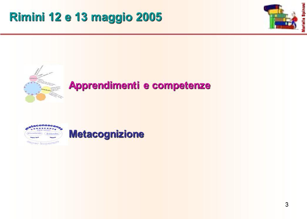 3 Rimini 12 e 13 maggio 2005 Apprendimenti e competenze Mariella Spinosi Metacognizione