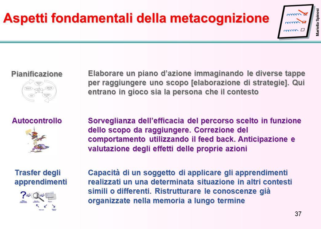 37 Aspetti fondamentali della metacognizione Pianificazione Elaborare un piano d'azione immaginando le diverse tappe per raggiungere uno scopo [elaborazione di strategie].