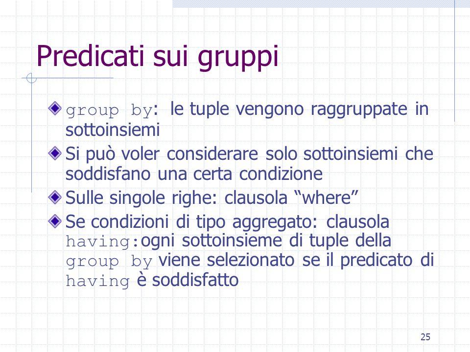25 Predicati sui gruppi group by : le tuple vengono raggruppate in sottoinsiemi Si può voler considerare solo sottoinsiemi che soddisfano una certa co