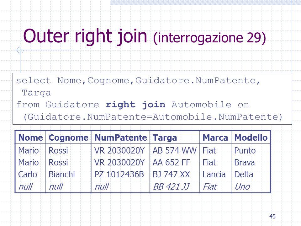 45 Outer right join (interrogazione 29) select Nome,Cognome,Guidatore.NumPatente, Targa from Guidatore right join Automobile on (Guidatore.NumPatente=