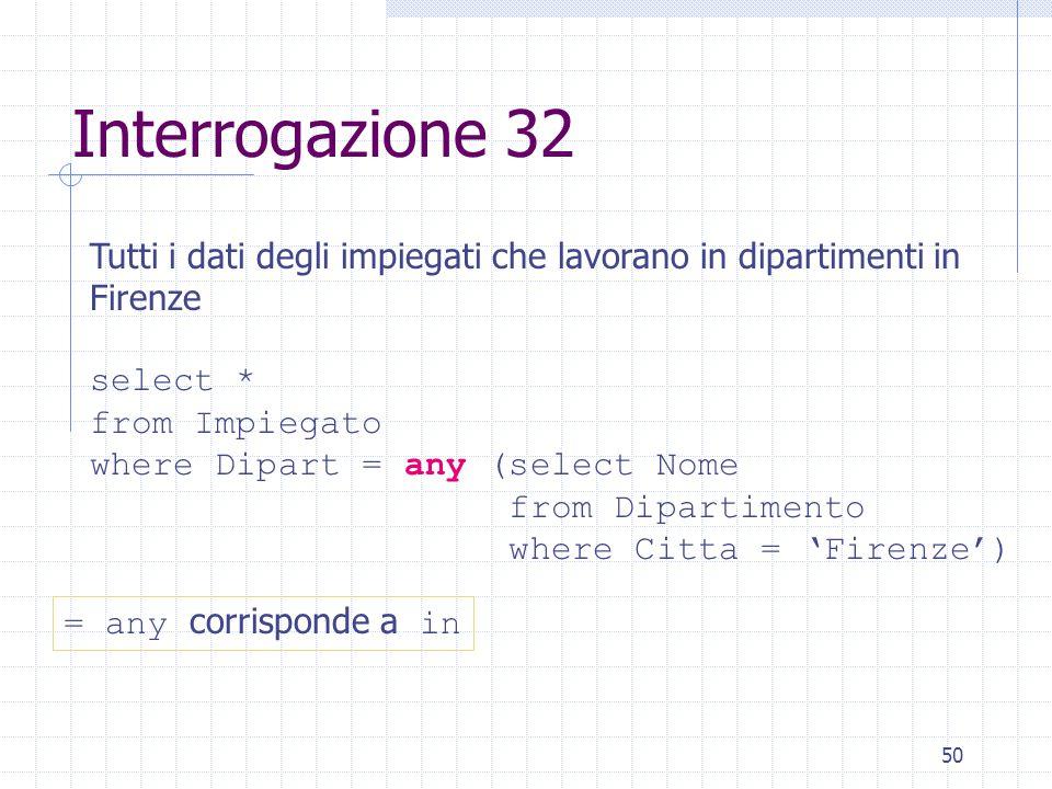 50 Interrogazione 32 Tutti i dati degli impiegati che lavorano in dipartimenti in Firenze select * from Impiegato where Dipart = any (select Nome from
