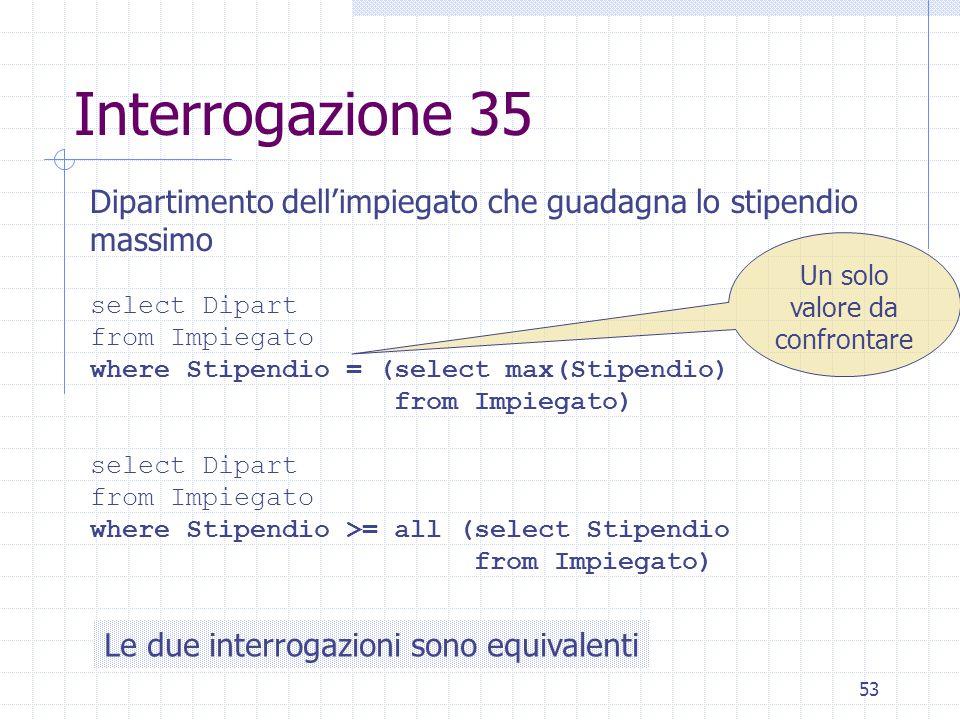 53 Interrogazione 35 Dipartimento dell'impiegato che guadagna lo stipendio massimo select Dipart from Impiegato where Stipendio = (select max(Stipendi