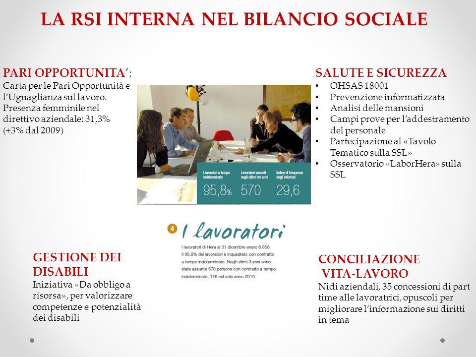 LA RSI INTERNA NEL BILANCIO SOCIALE PARI OPPORTUNITA': Carta per le Pari Opportunità e l'Uguaglianza sul lavoro.