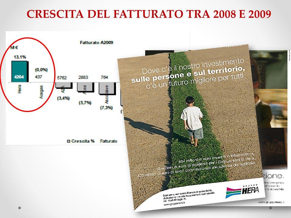 CRESCITA DEL FATTURATO TRA 2008 E 2009