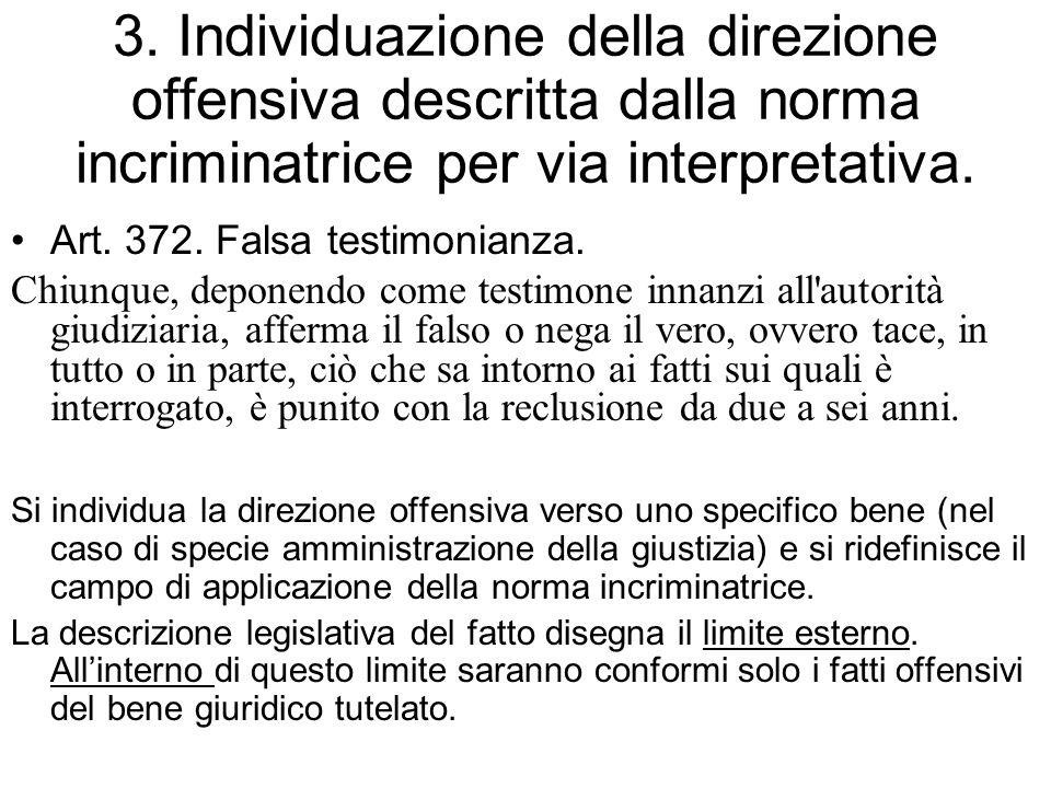 3. Individuazione della direzione offensiva descritta dalla norma incriminatrice per via interpretativa. Art. 372. Falsa testimonianza. Chiunque, depo