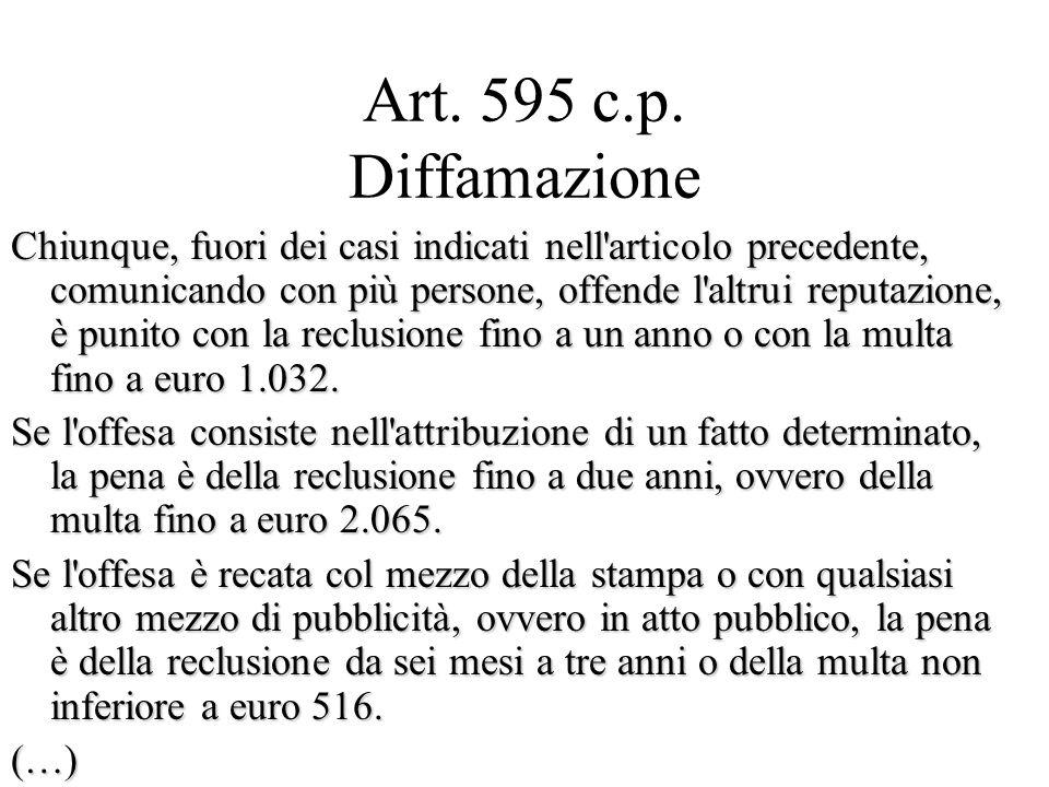 Art. 595 c.p. Diffamazione Chiunque, fuori dei casi indicati nell'articolo precedente, comunicando con più persone, offende l'altrui reputazione, è pu