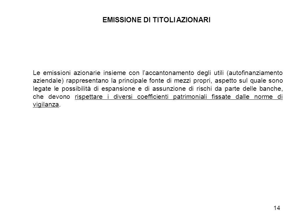 14 EMISSIONE DI TITOLI AZIONARI Le emissioni azionarie insieme con l'accantonamento degli utili (autofinanziamento aziendale) rappresentano la princip