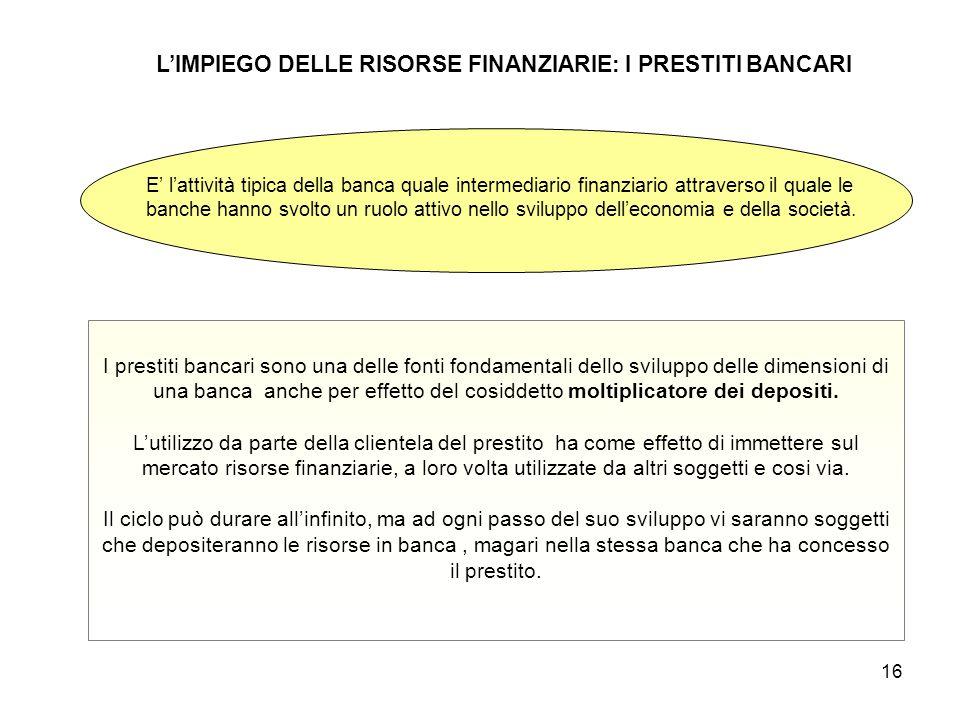 16 L'IMPIEGO DELLE RISORSE FINANZIARIE: I PRESTITI BANCARI E' l'attività tipica della banca quale intermediario finanziario attraverso il quale le ban