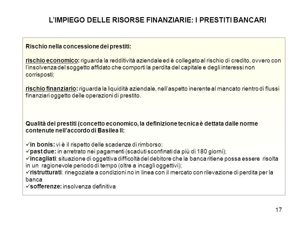 17 L'IMPIEGO DELLE RISORSE FINANZIARIE: I PRESTITI BANCARI Rischio nella concessione dei prestiti: rischio economico: riguarda la redditività aziendal