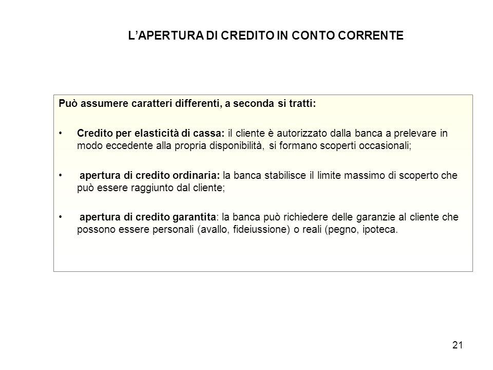 21 L'APERTURA DI CREDITO IN CONTO CORRENTE Può assumere caratteri differenti, a seconda si tratti: Credito per elasticità di cassa: il cliente è autor