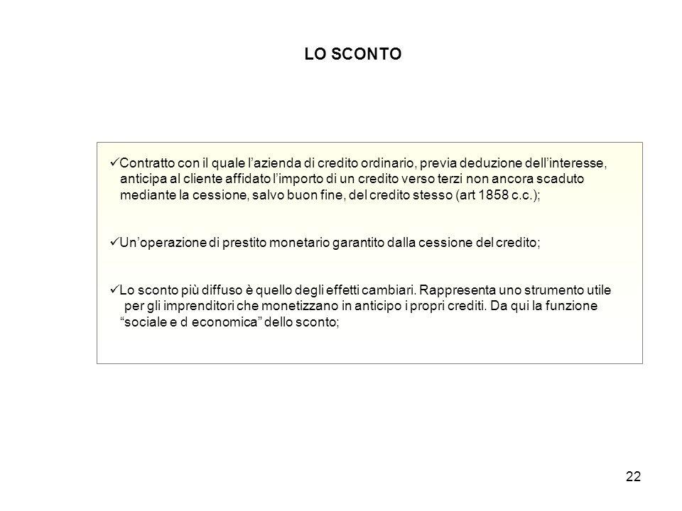 22 LO SCONTO Contratto con il quale l'azienda di credito ordinario, previa deduzione dell'interesse, anticipa al cliente affidato l'importo di un cred