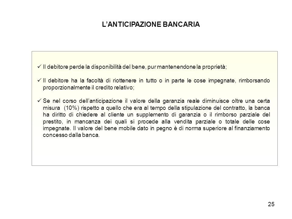 25 L'ANTICIPAZIONE BANCARIA Il debitore perde la disponibilità del bene, pur mantenendone la proprietà; Il debitore ha la facoltà di riottenere in tut
