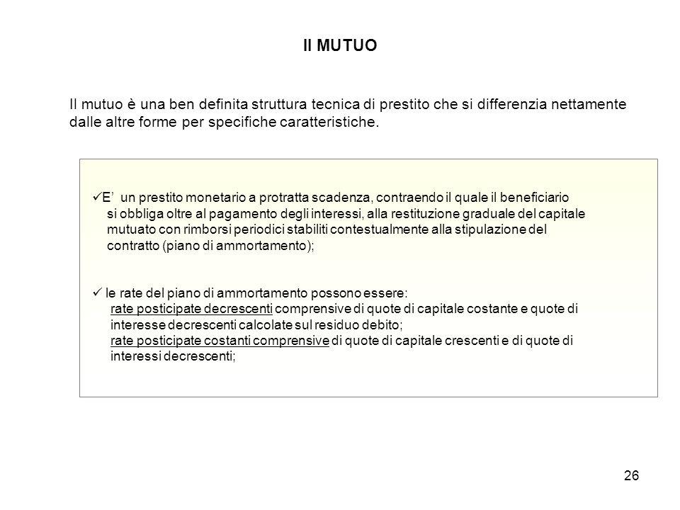 26 Il MUTUO E' un prestito monetario a protratta scadenza, contraendo il quale il beneficiario si obbliga oltre al pagamento degli interessi, alla res