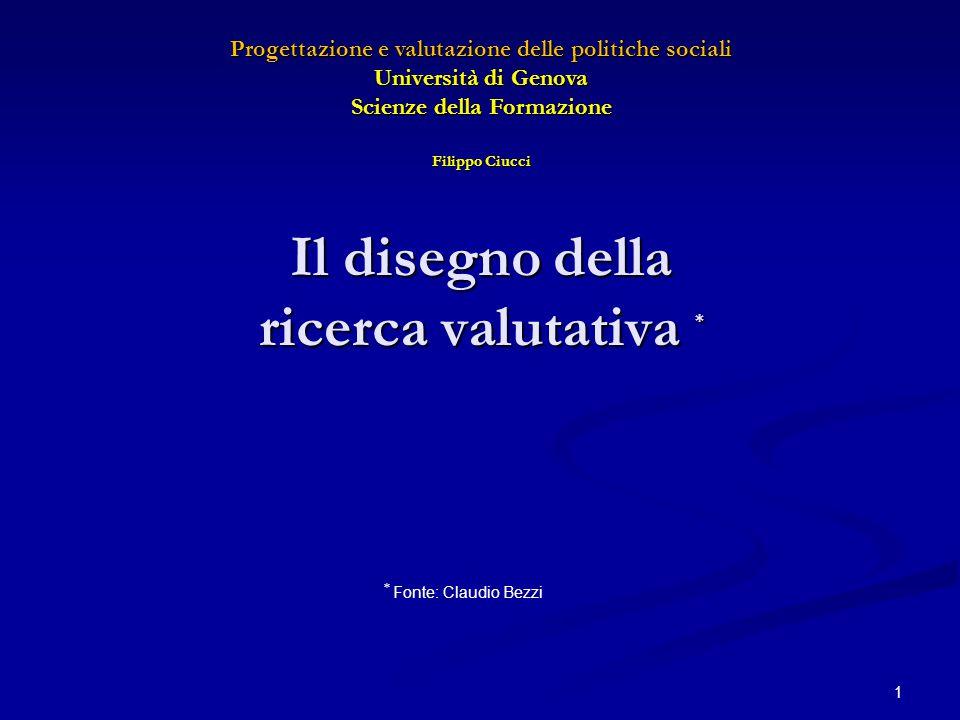 Il disegno della ricerca valutativa * 1 * Fonte: Claudio Bezzi Progettazione e valutazione delle politiche sociali Università di Genova Scienze della
