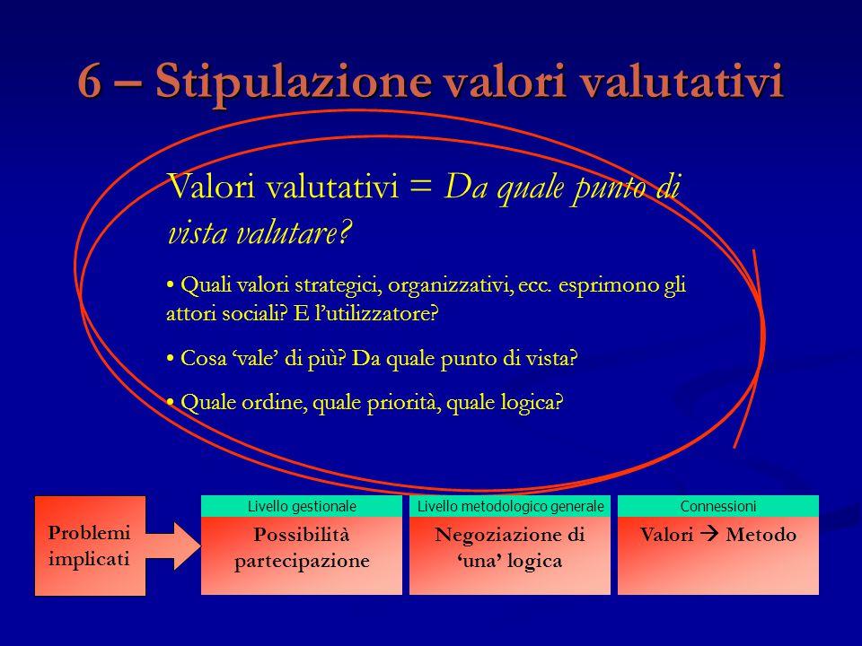 Valori valutativi = Da quale punto di vista valutare? Quali valori strategici, organizzativi, ecc. esprimono gli attori sociali? E l'utilizzatore? Cos