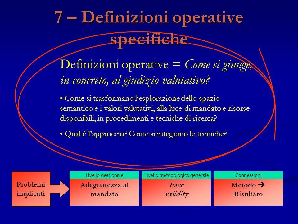 Definizioni operative = Come si giunge, in concreto, al giudizio valutativo? Come si trasformano l'esplorazione dello spazio semantico e i valori valu