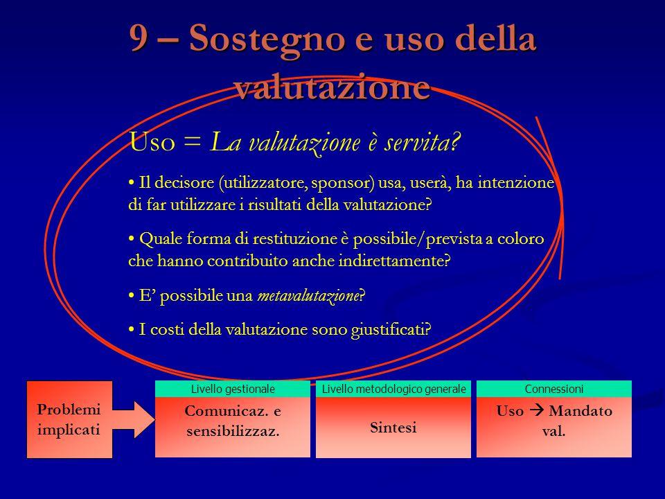Uso = La valutazione è servita? Il decisore (utilizzatore, sponsor) usa, userà, ha intenzione di far utilizzare i risultati della valutazione? Quale f