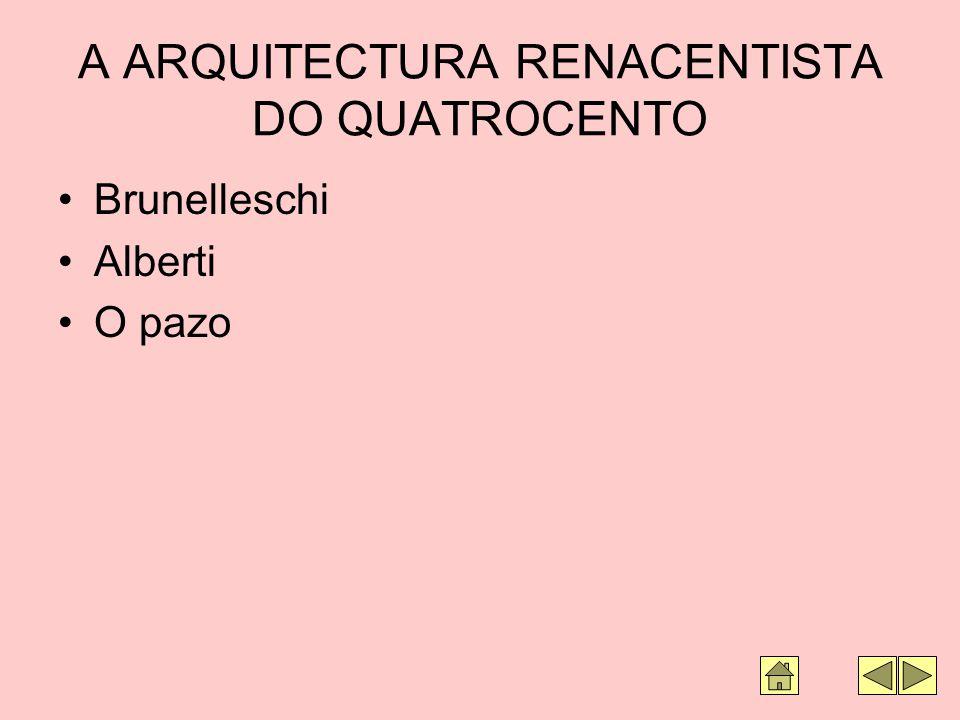 A ARQUITECTURA RENACENTISTA DO QUATROCENTO Brunelleschi Alberti O pazo