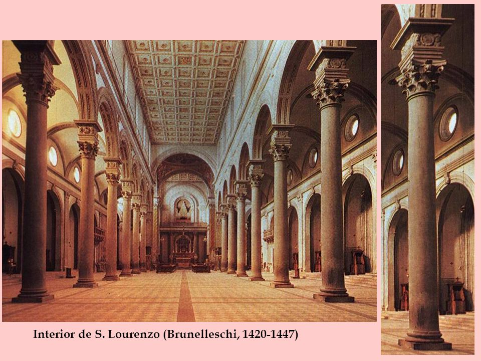 Interior de S. Lourenzo (Brunelleschi, 1420-1447)