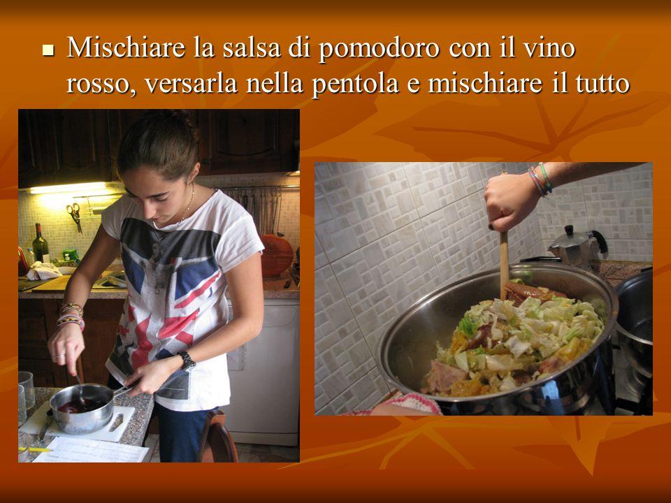 Mischiare la salsa di pomodoro con il vino rosso, versarla nella pentola e mischiare il tutto Mischiare la salsa di pomodoro con il vino rosso, versar