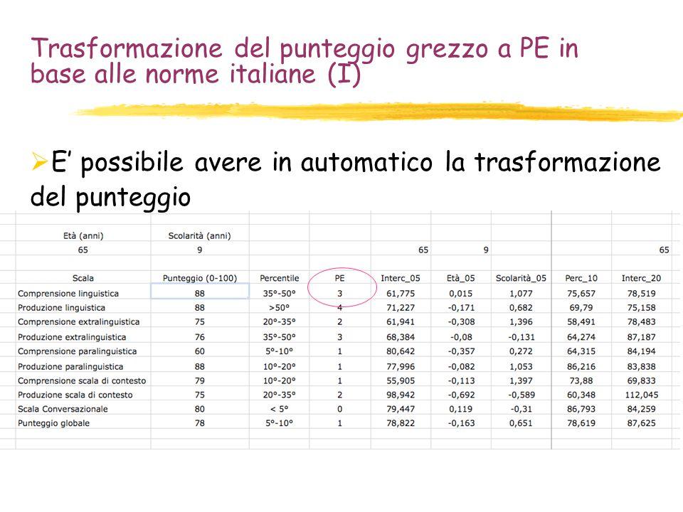 Trasformazione del punteggio grezzo a PE in base alle norme italiane (I)  E' possibile avere in automatico la trasformazione del punteggio