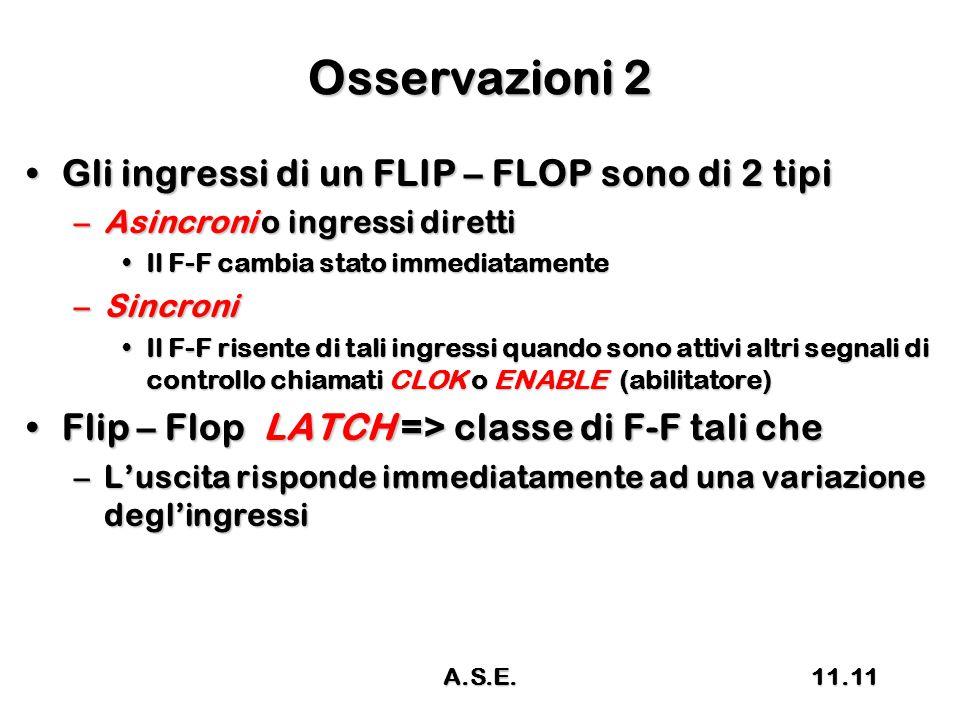 Osservazioni 2 Gli ingressi di un FLIP – FLOP sono di 2 tipiGli ingressi di un FLIP – FLOP sono di 2 tipi –Asincroni o ingressi diretti Il F-F cambia stato immediatamenteIl F-F cambia stato immediatamente –Sincroni Il F-F risente di tali ingressi quando sono attivi altri segnali di controllo chiamati CLOK o ENABLE (abilitatore)Il F-F risente di tali ingressi quando sono attivi altri segnali di controllo chiamati CLOK o ENABLE (abilitatore) Flip – Flop LATCH => classe di F-F tali cheFlip – Flop LATCH => classe di F-F tali che –L'uscita risponde immediatamente ad una variazione degl'ingressi 11.11A.S.E.